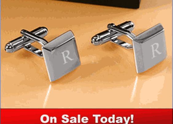 Rhodium Plated Square Keys Cufflinks