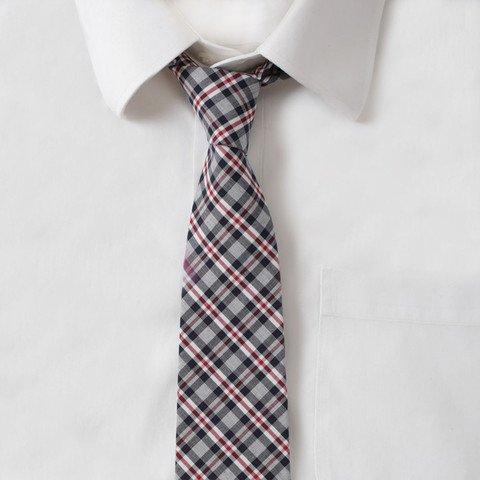 Cotton Gray & Red Plaid Tie
