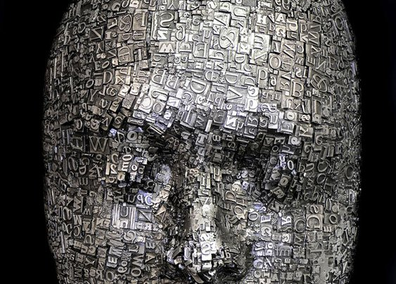 Masks and Heads Made from Moveable Type and Steel Hardware by Dale Dunning | Colossal