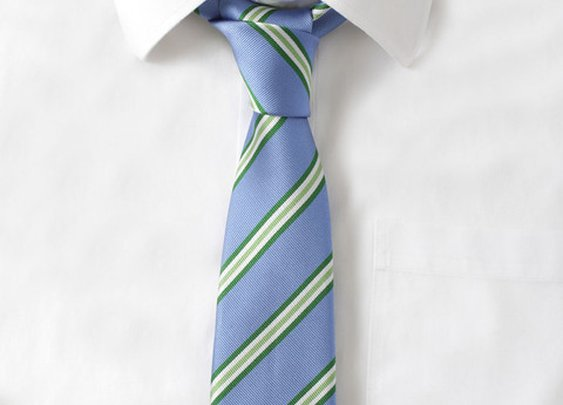 Silk Blue & Green Stripe Tie