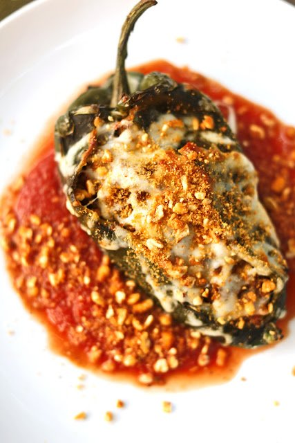 Chorizo-Stuffed Poblano Peppers with Corn Nuts Dust
