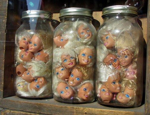 Jars of Barbie Heads