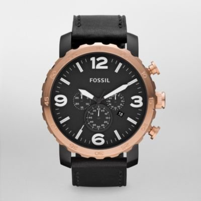 FOSSIL®  : Nate Leather Watch – Black JR1369