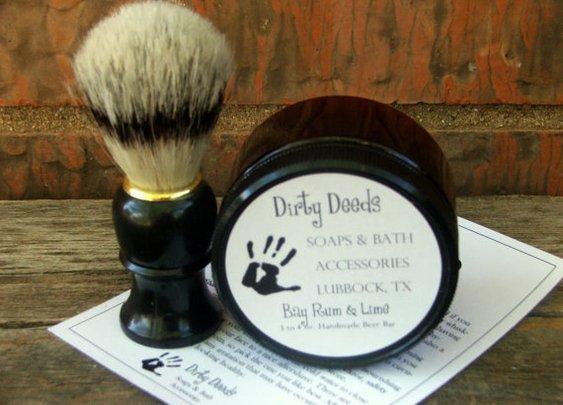 Mens Travel Shaving Kit Handmade Beer Soap by DirtyDeedsSoaps
