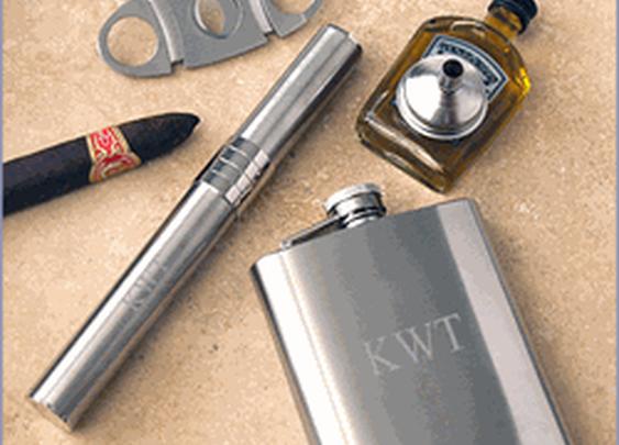 Stainless Steel Cigar Holder, Flask & Cigar Cutter Gift Set