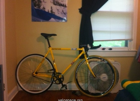 Yellow/Stickered Fixed Gear on velospace, the place for bikes