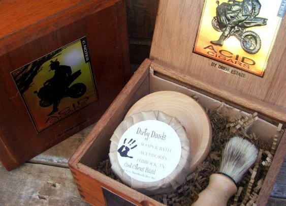 Mens Shaving Kit CIgar Box Beer Soap Cyber by DirtyDeedsSoaps