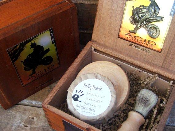 Mens Shaving Kit CIgar Box Beer Soap Cyber by