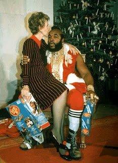 Mr T. Santa Clause with Nancy Reagan
