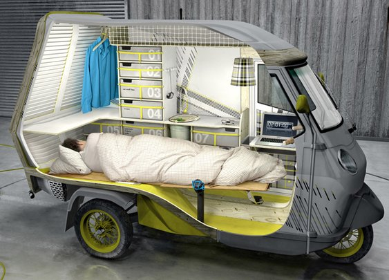 Piaggio APE 50 Bufalino: One-person camper!