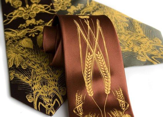 Beer silk necktie Hops barley and wheat men's tie by Cyberoptix