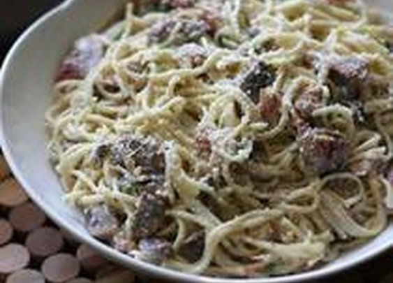 Spaghetti With Bacon and Mushrooms
