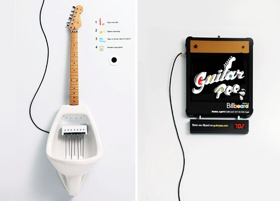 guitar pee musical urinal
