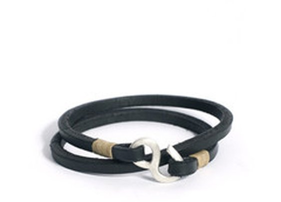 Tanner Goods - CAST SILVER DOUBLE WRAP WRISTBAND - BLACK/NATURAL