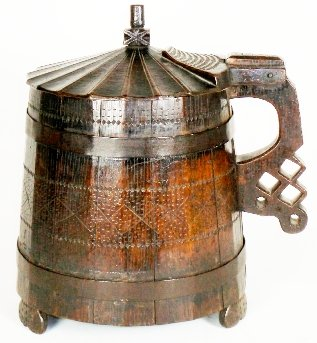 Cork and wooden beer steins.