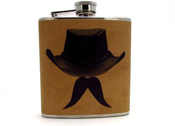 Cowboy/Mustache Flask