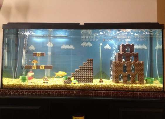 Super Mario Bros.-Inspired Fish Tank