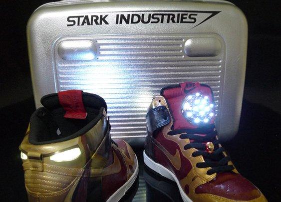 Custom Iron Man Nike Dunk with Arc Reactor & Stark Industries Briefcase