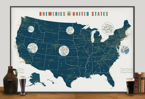 Breweries of the United States Map Print - Buzzraid