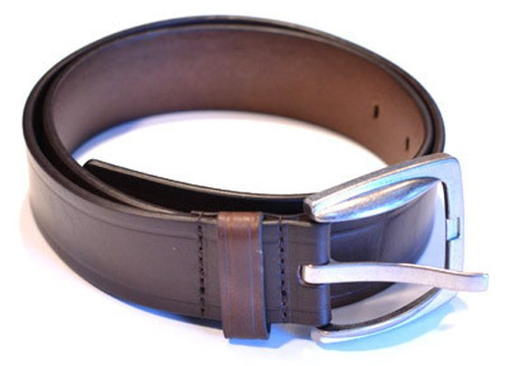 Leather Straight Line Belt - Brown