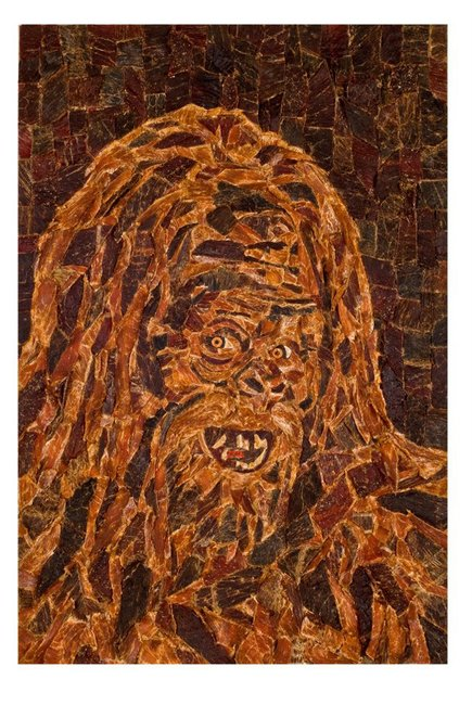 Beef Jerky Mosaic Portrait of Sasquatch by Jason Mecier