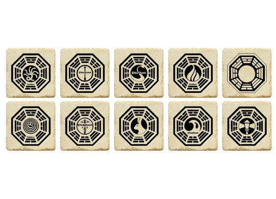 Lost Dharma Stations Emblem Ceramic Tile Coasters