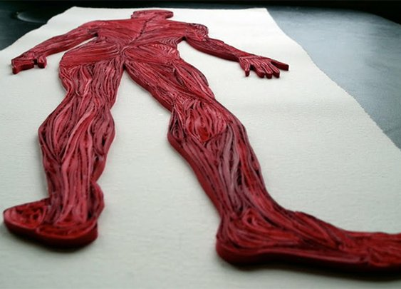 Quilled Paper Anatomy by Sarah Yakawonis | Colossal