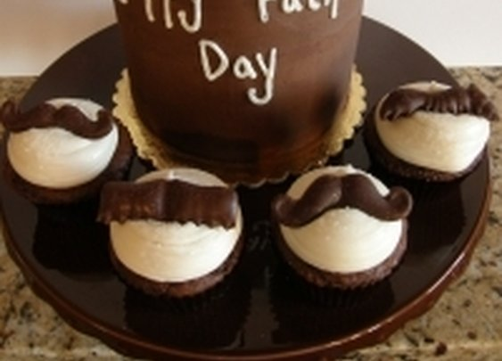 Moustache Cake and Cupcakes by cocobean on Cake Central