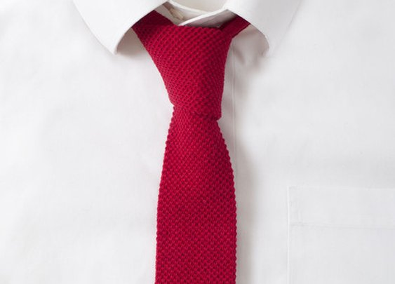 Knit Cotton Fire Red Tie