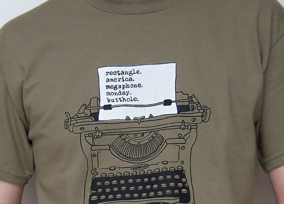 Geek Tshirt Screenprint Ron Swanson Typewriter Parks by UrbanPrey