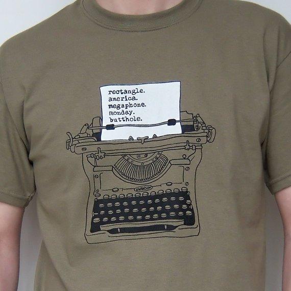 Geek Tshirt Screenprint Ron Swanson Typewriter Parks by UrbanPrey