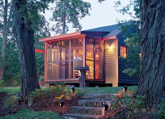 cabin porch.