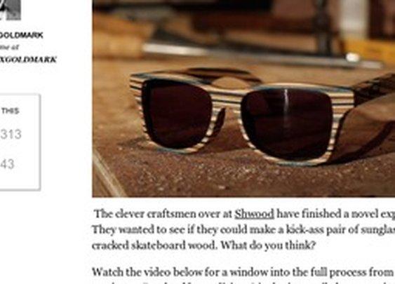 Sunglasses made from broken skateboards