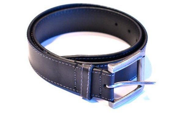 Leather High Stitch Belt - Black