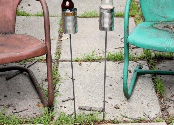 2 Hobo Tin Can Beer Holders/ Garden Drink Holders by stripeycity