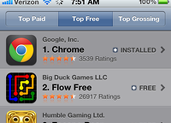 Google Chrome already No. 1 among free iOS apps