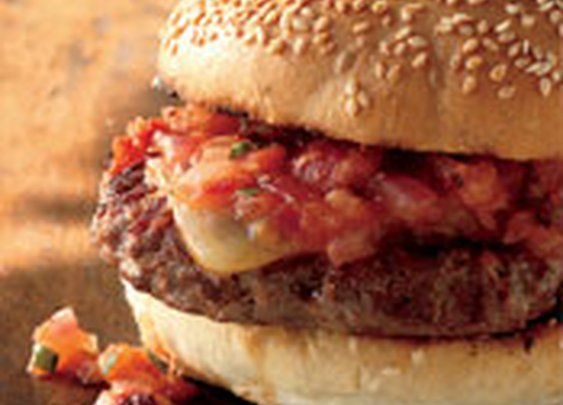 Mesquite-Grilled Cheeseburgers with Warm Chipotle Salsa Recipe from Weber Grills and Accessories
