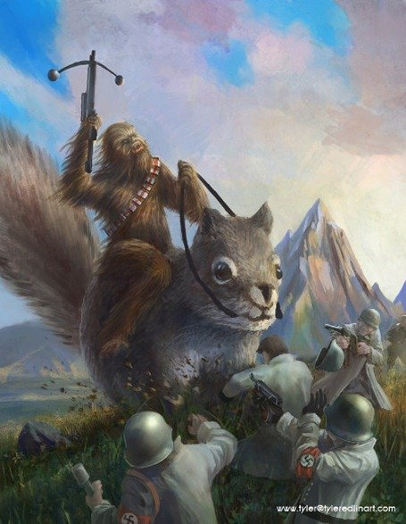 Chewbacca on a Squirrel Killing Nazis