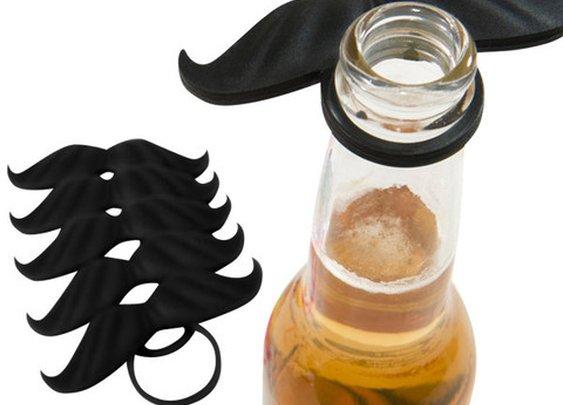 BeerMo Bottle Moustache - 6 Pack - Black