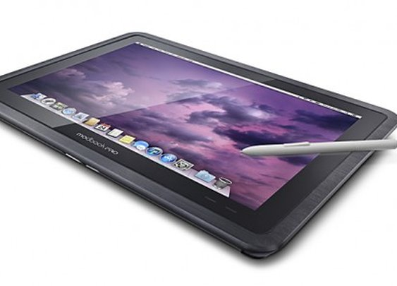 The Modbook Pro tablet runs on Mac OS X Mountain Lion