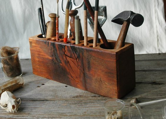 Desk caddy The Original rustic reclaimed wood Large by PegandAwl