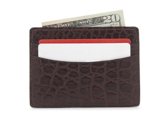 Alligator Card Case - Brown