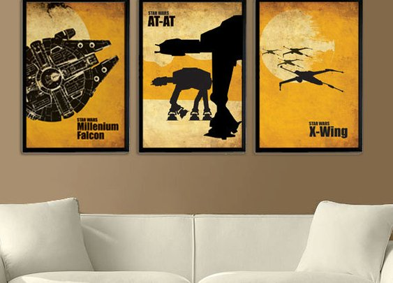 Star Wars Millenium Falcon XWing and ATAT by Posterinspired