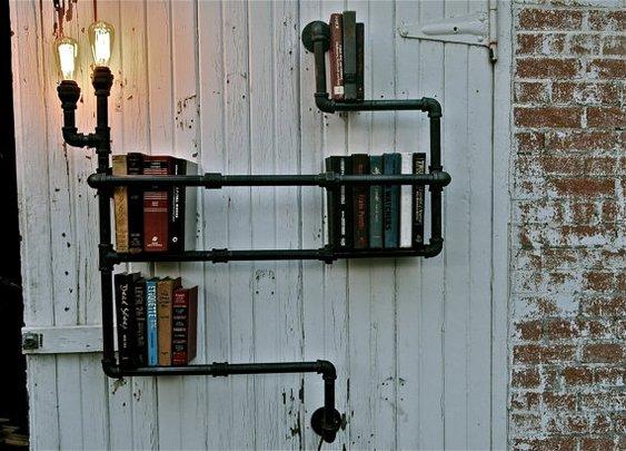 Industrial Pipe Bookshelving
