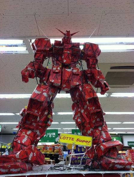 Huge Gundam made with Lotte Pepero Stick Snack Boxes