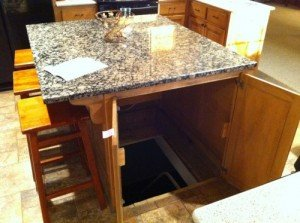 Kitchen Island Concealing Secret Trap Door | StashVault