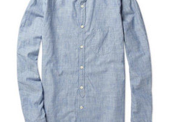 Levi's Made & CraftedGrandad-Collar Striped Chambray Shirt|MR PORTER