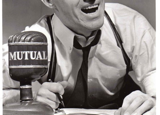 """The Voice of Boxing,"" Don Dunphy, during his radio days with the Mutual network"