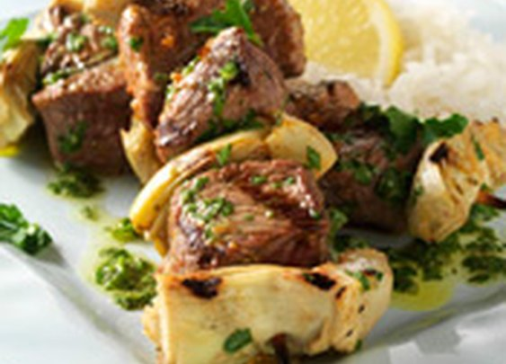 Greek Lamb and Artichoke Skewers with Parsley Sauce Recipe from Weber Grills and Accessories