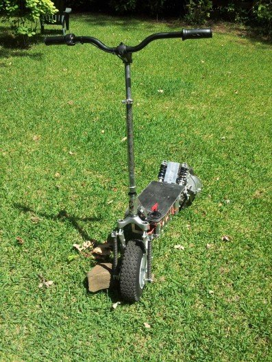 Kick scooter converted into awesome all-terrain electric